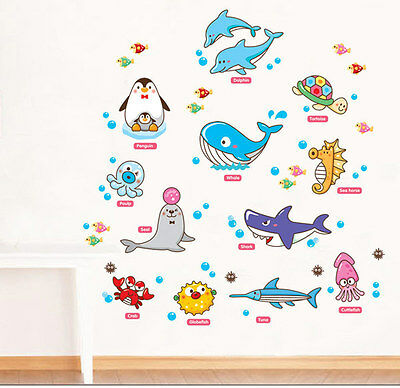 Ocean Fish Educational Wall Sticker DIY Removable Decal Baby Kids Nursery Decor