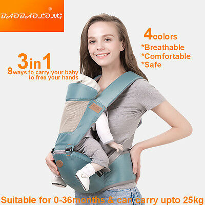 3in1 Breathable Baby Newborn Infant Toddler Carrier Front Back Hip 4 Colors