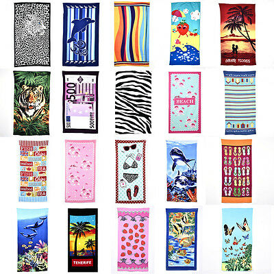 Large Microfiber Absorbent Printed Shower Swim Gym Beach Pool Bath Towel CoverUp