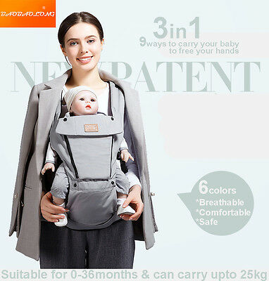 3in1 Breathable Baby Newborn Infant Toddler Carrier Front Back Hip 6 Colors