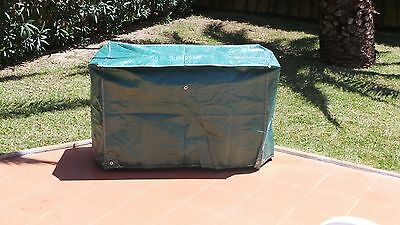 Bbq Cover Small, Strong Woven Polypropylene, Green, With Eyelets, Coated
