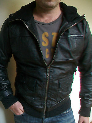Mens Superdry 'brad Bomber Lite' Leather Jacket Rrp $600 - Bnwt - Size S L