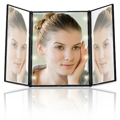 Portable 8LED Lighted Makeup Mirror Dressing Foldable Beauty Cosmetic 3 Sides