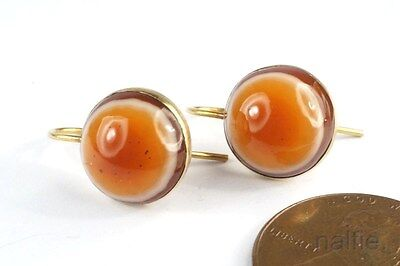 Antique Late Victorian English 9K Gold Banaded Carnelian Agate Earrings