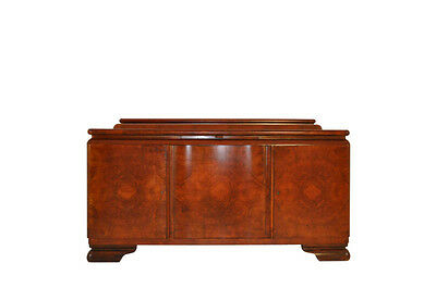 Red Brown Art Deco Credenza in Walnut Wood