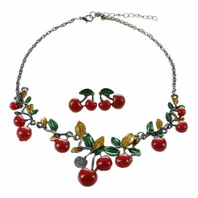 Women Jewelry Set Cherry Leaf Shape Stud Earring Choker Statement Necklace L4D2