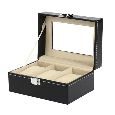 3 Slots Leather Watch Display Box Wristwatch Storage Holder Organizer Case U5C3