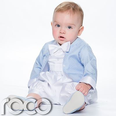 Baby Boys Blue & White Romper Suit, Baby Boys Christening Outfit