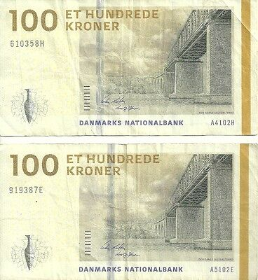 Danish Currency ~ 2x 100 Krone Bank Notes DKK ~ Denmark Danmark Copenhagen