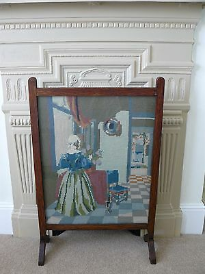 Vintage Oak Framed Fire Screen Guard with Pictorial Tapestry Panel under Glass