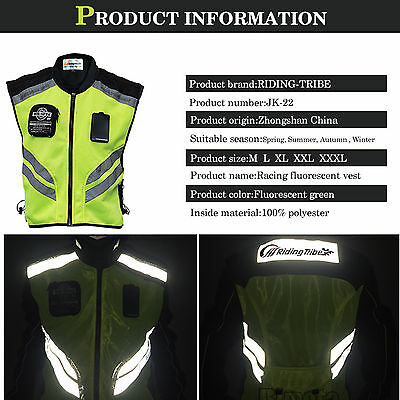 Motorcycle Vest Safety Reflective Waistcoat Hi-Vis Motorbike Riding Clothes