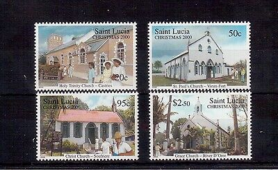 St. Lucia 2000 Christmas #1128/31 Set Vf Nh, Churches !!