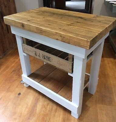 Rustic Kitchen Island Trolley Butcher's Block Fruit Crate Vintage