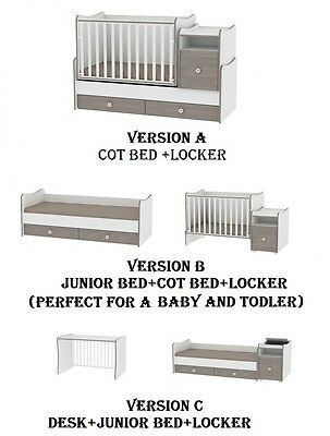 Multifunctional 3in1 Swinging Cot Bed Lorelli Trend Plus -Baby cot, junior White