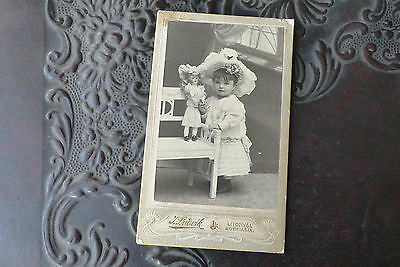 Little Young Girl with Antique Doll Antique Card Cabinet Photo