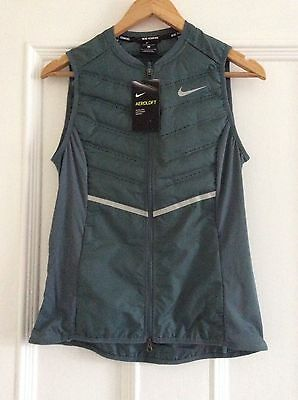 NIKE Womens Aeroloft 800 Lightweight Gilet Running Size Small in Slate Grey