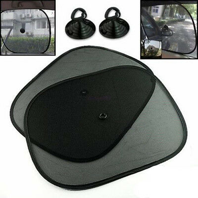 2pc Car Sun Shade Rear Black Side Window Sunshade Shield Screen Cover Mesh Visor