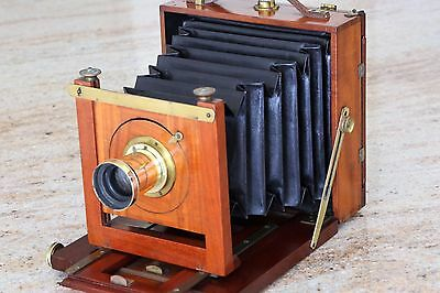 "Antique Perken Son & Rayment ""optimus"" Wood Plate Camera + 5 X 7 Brass Lens"