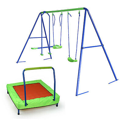 3 in 1 Double Swing and 1 Seesaw Garden Set with Collapsible Portable Trampoline