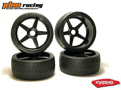 Kyosho GT 1/8 Nitro RC Wheels & Road Tyres 4pcs BLACK 17m Std Hex - IGTH004BK
