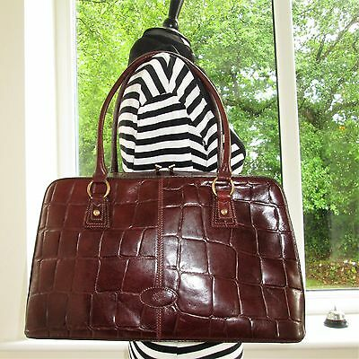 Authentic Large Mulberry Glossy Brown Congo Leather Collette Shoulder Hand Bag