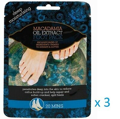 3 x MACADAMIA OIL EXTRACT DEEP MOISTURISING FOOT PACK TREATMENT