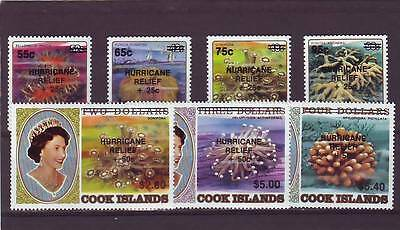 a128 - COOK ISL - SG1186-1192 MNH 1987 CORALS OVPT HURRICANE RELIEF