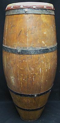 Antique Cuban Conga Drum Signed H.M.J. with Engraved Club Names