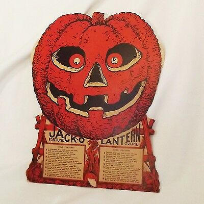 Easel back Jack O Lantern Fortune Game Halloween Decoration Beistle Company 1930