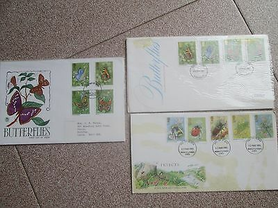 FDC STAMPS - 3  Vintage 1980´s Butterflies and Insects First Day Covers