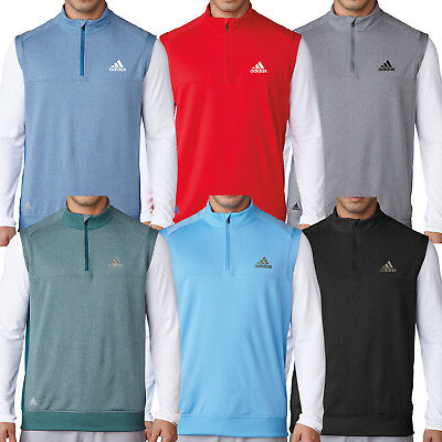 Adidas Golf 2017 Mens 1/4 Zip Club Vest Pullover Stretch Sleeveless Jumper