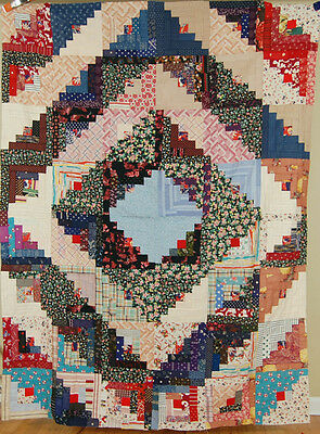 GORGEOUS, WELL PIECED Vintage 30's Barn Raising Log Cabin Antique Quilt Top!