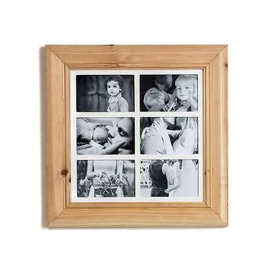Deluxe 6 Aperture Solid Pine Wood Multi Photo Frame ~ Natural Brushed Pine