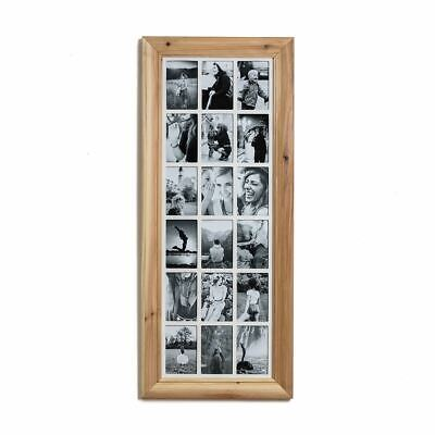 Deluxe 18 Aperture Solid Pine Wood Multi Photo Frame ~ Natural Brushed Pine