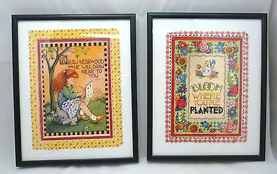 "Pair Mary Engelbreit ME Framed Prints, ""Draw near to God"" ""Bloom where planted"""