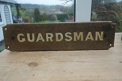 Antique Cast Iron Guardsman Sign (17.25 X 4.5 Inches ) Hand Painted