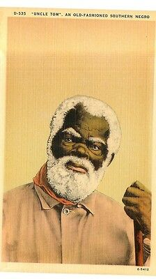 """Vintage Linen Postcard - """"uncle Tom"""" - An Old Fashioned Southern Negro"""
