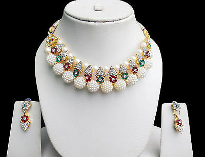 Bollywood Indian Latest Gold Plated Cz & Pearl Neclkace Fashion Jewelry Set