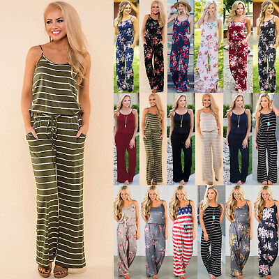 UK Womens Sleeveless Floral Playsuit Ladies Summer Romper Long Jumpsuit Trousers
