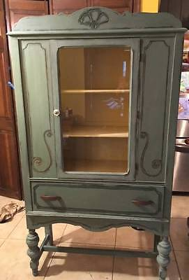 Antique wood Glass china Curio cabinet Refinished Milk Paint Farmhouse Style