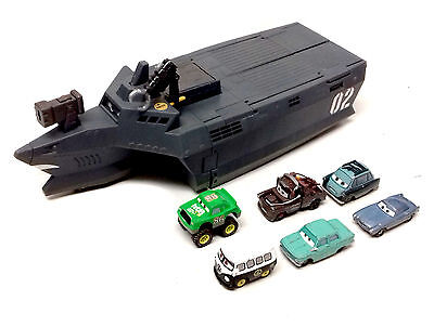 Disney Pixar Movies CARS 2 THE SPY COMBAT BOAT vehicle Toy Playset & Cars