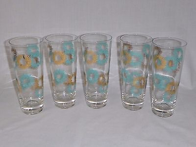 Set of 5 Vtg Mid Century Turquoise & Gold Starburst Tapered Bar Glasses Tumblers