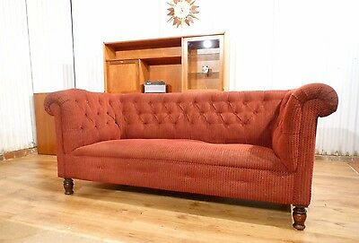 Lovely Antique Victorian red button back scroll arm sprung upholstered sofa