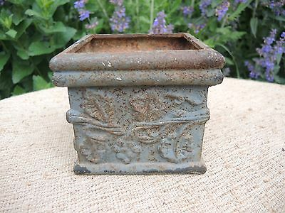 Unusual French Vintage  Square Cast Iron Garden Planter 13 cm high  (623)