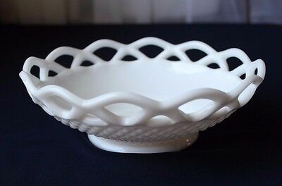 Vintage Imperial White Milk Glass-Laced Edge-Candy Cookie Dish Bowl