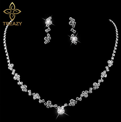 Ladies Silver Plated Necklace Earrings Sparkling Crystals Bridal Wedding Formal