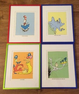 Lot Of Dr. Seuss Framed Art Prints Horton One Fish Fox In Sox Cat In Hat 14X11