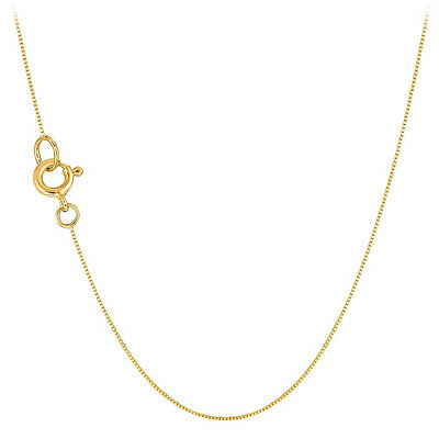 """14K White or Yellow Gold Ladies 0.4mm Thin Box Chain Necklace 18"""""""
