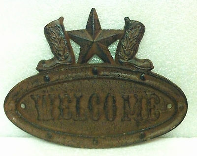 WALL HANGER  WELCOME SIGN STAR & BOOTS METAL WESTERN COWBOY BOOTS COUNTRY Decor