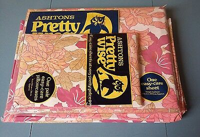 Vintage Retro 60's 70's Pink Floral Flower Single Flat Sheet + 2 P Cases Bnip
